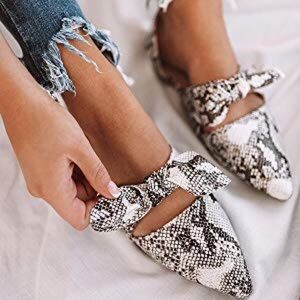 Shoes - Snakeskin Bow Mule